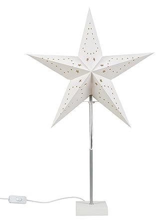 Idena Lampe Mit Weihnachtsstern Aus Papier Ca 60 Cm Weiss