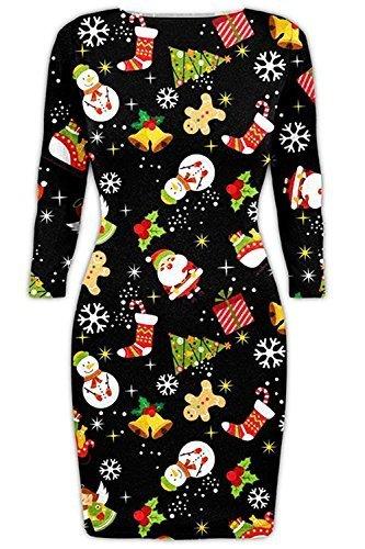 b503eff4f83048 Be Jealous Damen Weihnachten Bodycon Langärmlig Weihnachten Candy Rot Nase  Schneeflocken Minikleid Uk Plus Größe 34