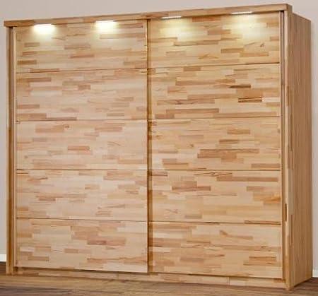 6 - 6 -2135: made in BRD - cierre-sistema - armario haya parte sólida - con iluminación y puertas correderas - puerta corredera: Amazon.es: Hogar