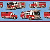 Firetrucks Wallpaper Border - Blue Background