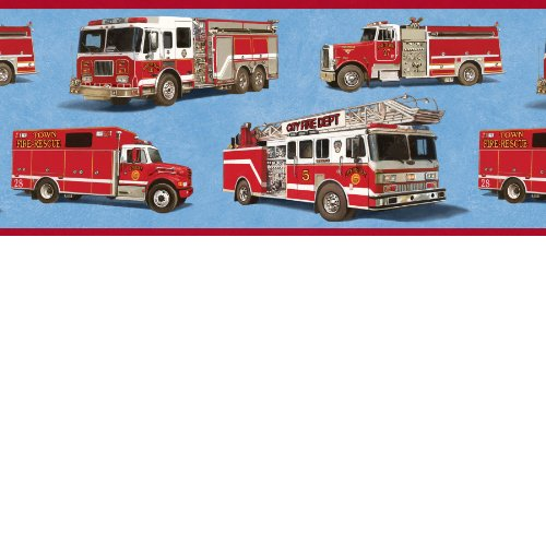 Firetrucks Wallpaper Border - Blue Background (Border Wallpaper Fire Truck)
