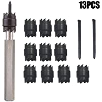 """Pack of 13Pcs 3/8"""" Double Sided Rotary Spot Weld Cutter Sheet Metal Hole Cutter Saw Spot Weld Remover Drill Bits Cutting Tools Power Drill Welding Auto Work Tool w/Replacement Blade"""