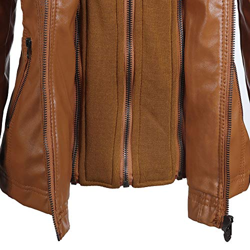 Hooded Jacket Leather Coat Tops Zipper Womens Lapel Brown Slim Holywin Removable ORZUSTwW