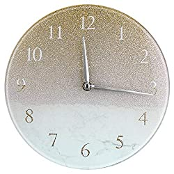 Jofave 10 Inches Modern Decorative Quartz Wall Clock,Hanging Clock Battery Operated for Home Livingroom and Office. (White Gold)