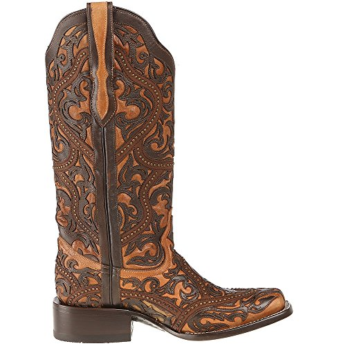 Corral Mujeres Full Overlay Studs Cowgirl Bota Square Toe Brown 10 M