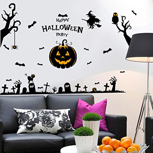Happy Halloween Party, SUPPION PVC Happy Halloween Home Household Room Wall Sticker Mural Decor Decal Removable New-About 140cm92cm (A) -