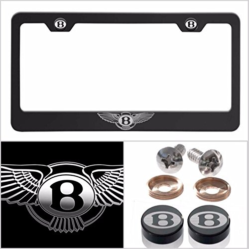 UFRAME Fit Bentley Laser Engraved Logo License Plate Frame Made of Industrial Grade Powder Coated Black Matte Black Stainless Steel w/Caps and Accessories ()