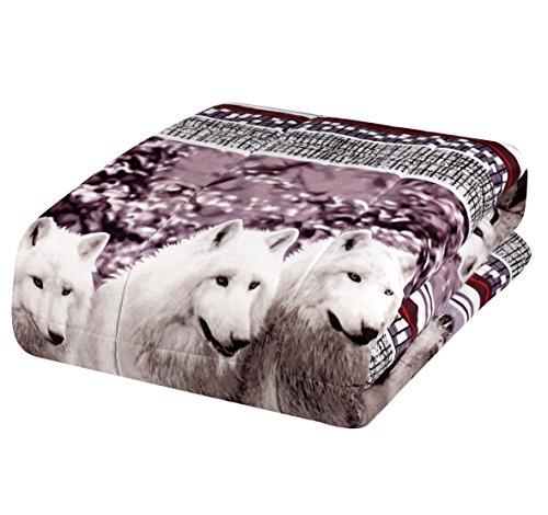 2 Piece Set Mountain Wolves Soft 3D Box stiched Comforter Se