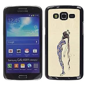 Be Good Phone Accessory // Dura Cáscara cubierta Protectora Caso Carcasa Funda de Protección para Samsung Galaxy Grand 2 SM-G7102 SM-G7105 // Peacock Girl Fashion Dress Woman