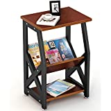 Tribesigns Chairside End Table Nightstand Storage Shelves Bedroom, Living Room, Entryway, Sturdy Metal Frame (Teak)