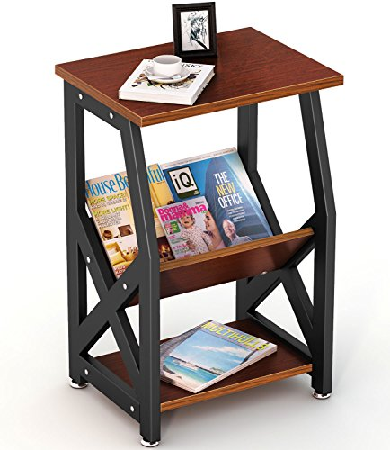 Tribesigns Chairside End Table Nightstand with Storage Shelves for Bedroom, Living Room, Entrywa ...