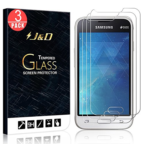 J&D Compatible for 3-Pack Galaxy J1 Mini Glass Screen Protector, [Tempered  Glass] [Not Full Coverage] HD Clear Ballistic Glass Screen Protector for