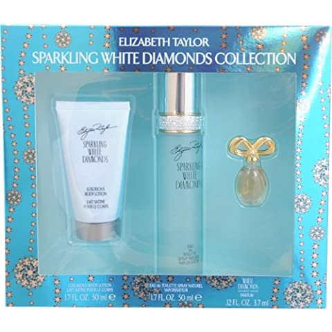 Elizabeth Taylor Sparkling White Diamonds 3 Piece Gift Set for Women - Elizabeth Taylor Rose Body Lotion