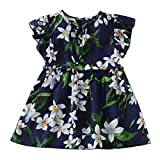 NUWFOR Toddler Baby Kids Girls Fly Sleeve Ribbons Ruched Floral Princess Dresses (Navy,2-3 Years)
