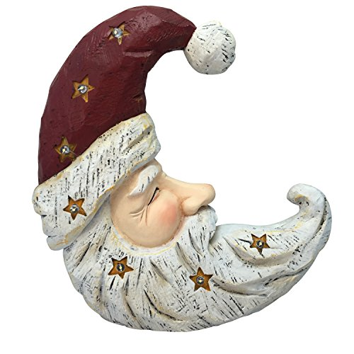 Alpine Corporation Christmas Santa Moon Face Light Up Statue Decor- Tm