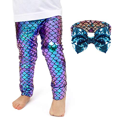 Girls Mermaid Leggings Fish Scale Mermaid Tights Pants Princess Ariel Mermaid Headband Gift for Toddlers Kids 2T 3T 4T 5T(1-2 Years) -
