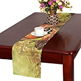 Fawn Deer Twins Living Nature Animals Cute Nature Table Runner, Kitchen Dining Table Runner 16 X 72 Inch For Dinner Parties, Events, Decor