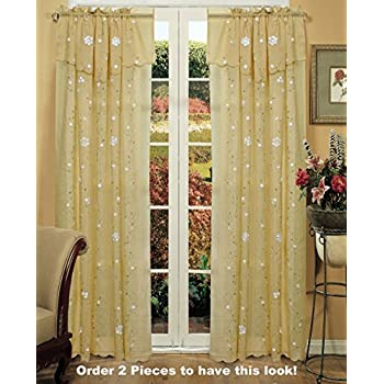 Amazon Com Daisy Embroidered Floral Window Curtain Panel