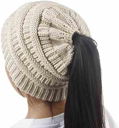 3f245509251 DealHouse Kids Girls Winter Warm Stretch Cable Knit Messy High Bun Ponytail Beanie  Hat 3-