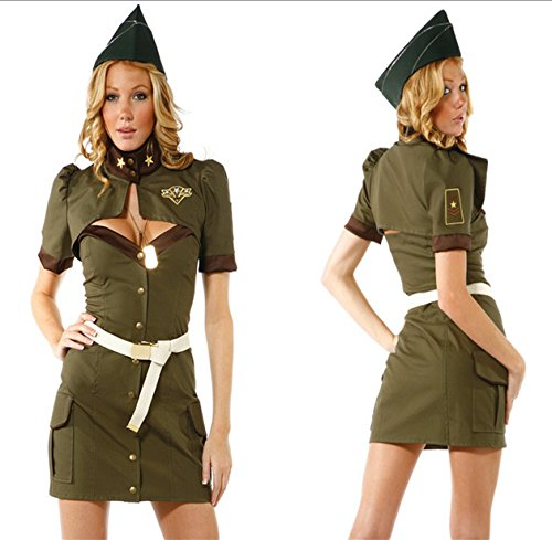 [Pengfei Army Green Halloween with costumes spy / Female police uniforms / cosplay sailor suit / role-playing service , figure ,] (Spies Costumes)