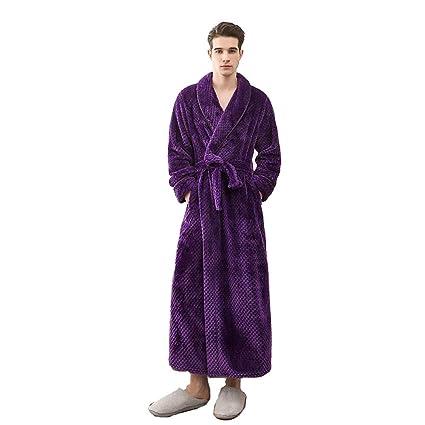BCL-Pijama Bata para Hombre Bata De Cuerpo Entero Algodón Toalla De Baño Albornoz Ligero