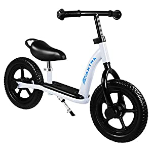 Maxtra 12in Balance Bike Lightweight Sports No Pedal Walking Bicycle with Adjustable Handlebar and Seat for Ages 2 to 5 Years Old (Footrest White)