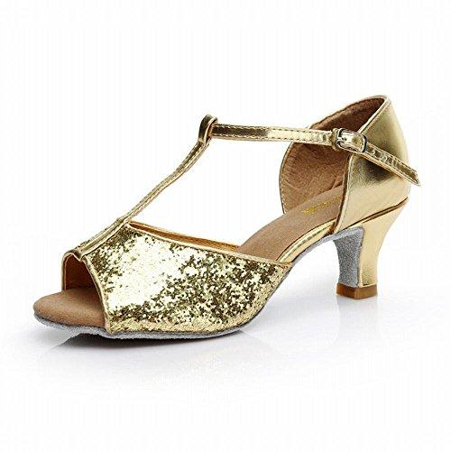 BYLE Adulto Jazz Talón Onecolor de Zapatos Alto Latino El de Oro de Sandalias Social Baile de Cuero Paño de Baile Modern Suave Tobillo 7cm Zapatos Baile Samba rpP8fwWrq