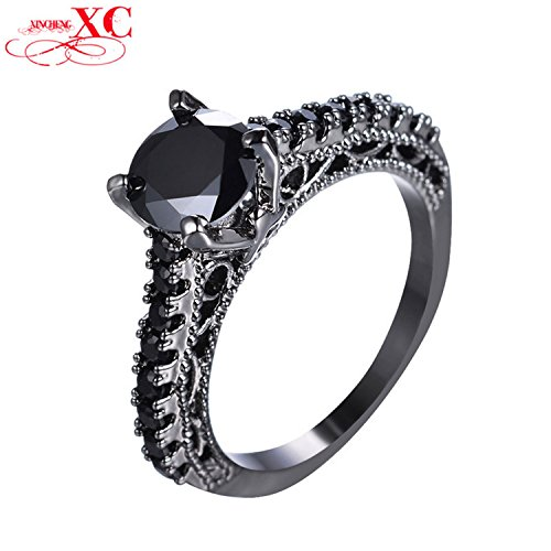 Cherryn Jewelry Vintage Round Black Ring Halloween Band Black Gold Filled Crystal Ring Wedding Jewelry RB0771