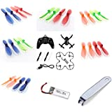Hubsan X4 Plus H107P [QTY: 1] HUBSAN X4 Plus H107P Quadcopter [QTY: 1] H107P-09 Battery 3.7v 520mah LiPo Power Pack Drone Part [QTY: 1] Transparent Clear Blue and Green Propeller Blades Props Rotor Se