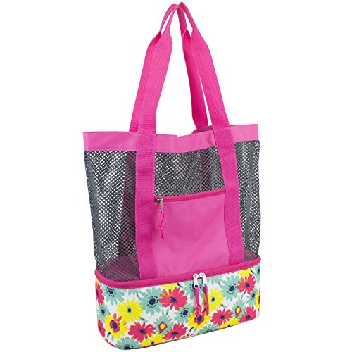 Floral Print Beach Bag - Eastsport Mesh Tote Insulated Cooler Beach Bag, Pink with Graphite Mesh/Floral Print
