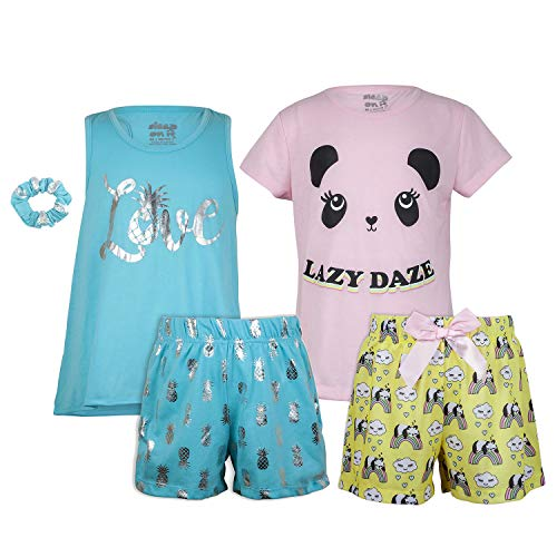 Sleep On It Girls 4 Piece Summer Pajama Tank Top and Short Sleeve Shorts Set (2 Full Sets) - Pajamas Tank Girls