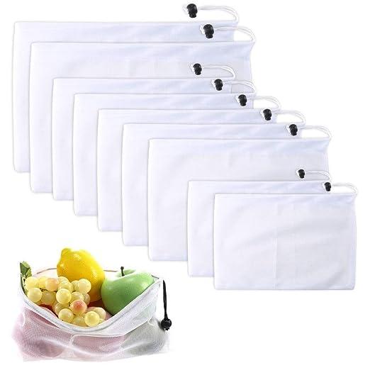 ETSAMOR 9 Pcs Bolsas de Tela Reutilizables y ecológicas Bolsas de Red Bolsas Transpirables con cordón Vegetal Fruta Verduras Alimentos Productos ...