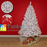 FunkyBuys Deluxe Snow White Colorado Spruce Artificial Christmas Tree (150cm / 1.5m / 5ft) - Metal Stand by FunkyBuys