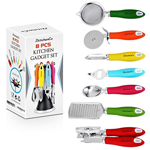 Charmant ZkitchenCo 8 Piece Kitchen Gadgets Utensils Cooking Tools, Stainless Steel  Multi Colored  Can Opener, Pizza Cutter, Bottle Opener, Ice Cream Scoop,  Peeler, ...