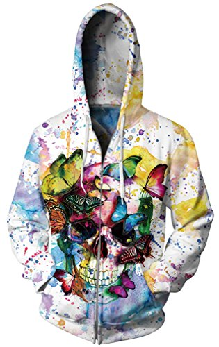 GLUDEAR Unisex 3D Galaxy Zipper Hoodie Sweatshirt Fleece Pullover Hooded Shirts Pocket,Butterfly Skull,2X