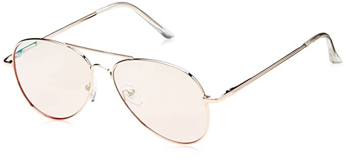 284f4e74e17e zeroUV Small Matte Metal Rose Gold Pink Mirror Flat Lens Aviator Sunglasses
