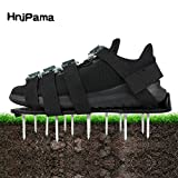 HnjPama 2018 Upgraded Lawn Aerator Shoes, 26 Spikes Aerating Lawn Soil Sandals with 4 Adjustable Buckles Straps & 1 Heal Elastic Band-Black