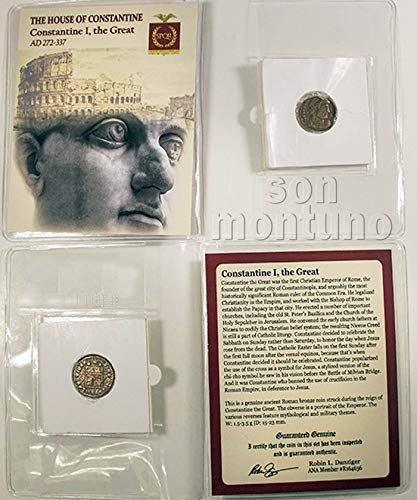 CONSTANTINE THE GREAT - Ancient Roman Bronze Coin in Folder with Certificate of Authenticity - Constantine I 272-337 AD