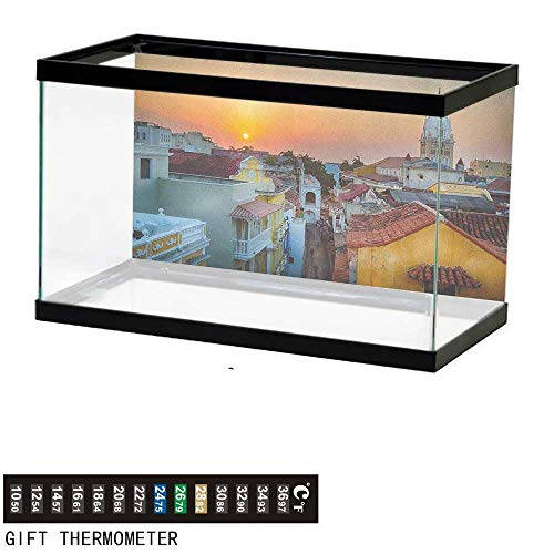 "Jinguizi SunsetFish Tank BackdropView Over The Rooftops of The Old City Cartagena Cathedral Colombian Coast Picture30 L X 12"" H MulticolorAquarium Background"