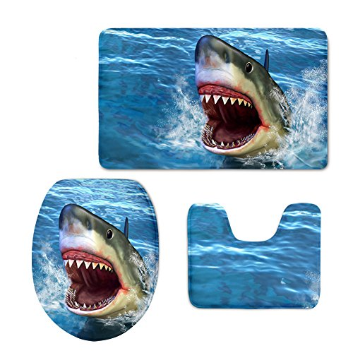 Showudesigns Personalized Prining Shark Toilet Seat Cover Long WC -