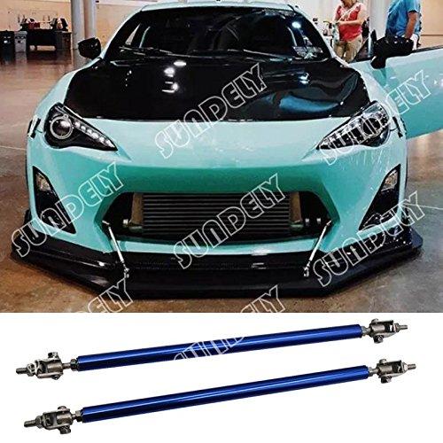 2 X SUNDELY Blue Color 9.7'' to 13.2'' (24.6cm~33.5cm) Adjustable Universal Front Bumper Lip Diffuser Splitter Support Bar Rod Strut