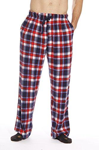 #followme 45902-11-XL Polar Fleece Pajama Pants For Men Sleepwear PJS,Red, White & Blue Plaid