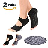Hylaea Womens Toeless Yoga Socks with Grip Cotton Pilates Socks Black Gray 2 Pairs