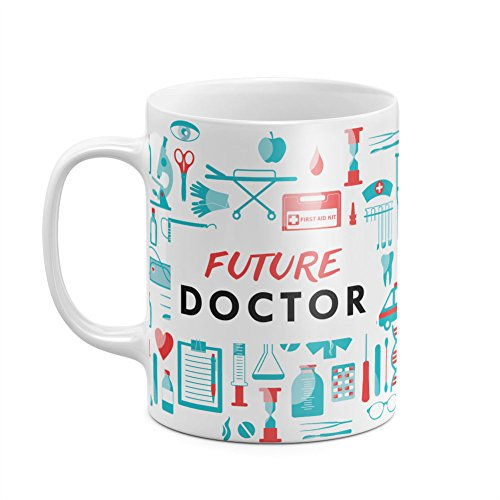 Future Doctor Pattern Hospital Pharmacy Profession Quote Best Birthday or Anniversary Gifts Unique Present Idea Funny Christmas Gift Idea White Heat Resistant Ceramic Tea Coffee Mug - 11oz