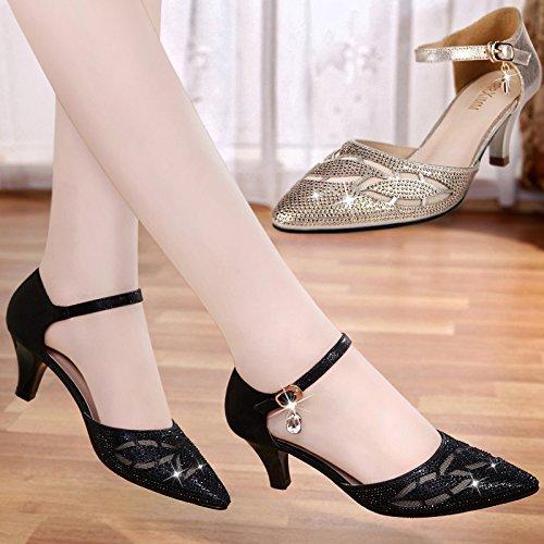 Tacones Verano GTVERNH Delgados Medio Baotou black Mujer Mujer Sandalias Zapatos Hebillas Y w0qZCf0