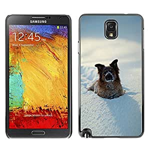 Caucho caso de Shell duro de la cubierta de accesorios de protección BY RAYDREAMMM - Samsung Galaxy Note 3 N9000 N9002 N9005 - Funny Winter Dog In Snow