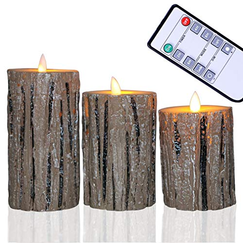 """Candle Classic Pillar (Flameless Candles,Devin William Flickering Candles Set of 3(4""""5""""6"""") Battery Operated Dancing Candles, Classic Wax Pillar and LED Fake Flame with 10-Key Remote Control (Birch Bark Effect))"""