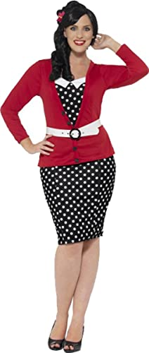1950s Polka Dot Dresses Ladies Fancy Dress Up Party Sexy Curves 1950s Pin Up Costume Outfit $89.99 AT vintagedancer.com