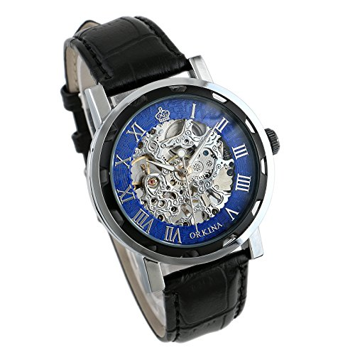 Mens Watch Mechanical Black Leather Silver Case Hand-Winding Skeleton Luxury