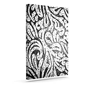 "Kess InHouse Alveron ""Monochrome Paisley"" Outdoor Canvas Wall Art, 8 by 10-Inch"